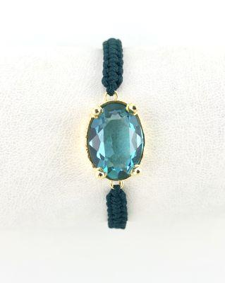 Swarovski Mavi (Blue Zircon) Taşlı Örme Bileklik - Gold Kaplama