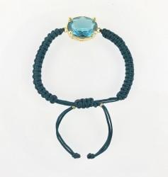 - Swarovski Mavi (Blue Zircon) Taşlı Örme Bileklik - Gold Kaplama