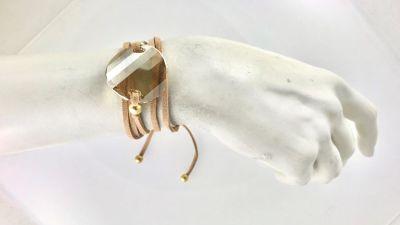 Swarovski Büyük Kristal (Golden Shadow) Taşlı Sarma Bileklik-Kolye - Gold Kaplama