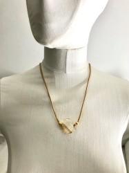 Swarovski Büyük Kristal (Golden Shadow) Taşlı Sarma Bileklik-Kolye - Gold Kaplama - Thumbnail