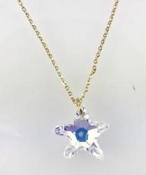 - Swarovski Kristal AB Deniz Yıldızı Taşlı Kolye - Gold Kaplama