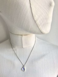 Swarovski Kristal AB Kalp Taşlı Kolye - Rhodium Kaplama - Thumbnail