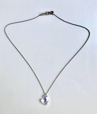 Swarovski Kristal AB Kalp Taşlı Kolye - Rhodium Kaplama