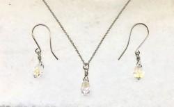 - Swarovski Kristal AB Taşlı Kolye-Küpe Takım - Rhodium Kaplama