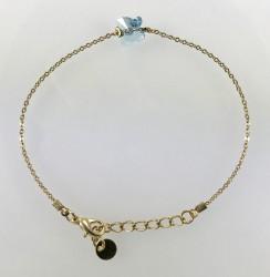 - Swarovski Kristal Akuamarin Kelebek Taşlı Bileklik - Gold Kaplama