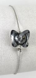 - Swarovski Kristal Black Diamond Kelebek Taşlı Bileklik - Rhodium Kaplama