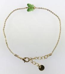 - Swarovski Kristal Fern Green Kelebek Taşlı Bileklik - Gold Kaplama