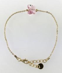 - Swarovski Pembe Kristal (Light Rose) Kelebek Taşlı Bileklik - Gold Kaplama