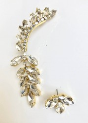 - Swarovski Kristal Taşlı Asimetrik Küpe - Gold Kaplama