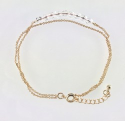 - Swarovski Bulk Nature Crystal Taşlı Çift Zincirli Bileklik - Gold Kaplama