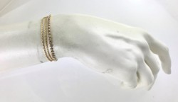 Swarovski Taşlı Çift Zincirli Zarif Bileklik - Gold Kaplama - Thumbnail