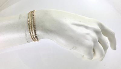 Swarovski Taşlı Çift Zincirli Zarif Bileklik - Gold Kaplama