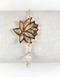 - Swarovski Kristal Taşlı Lotus Çiçeği Bileklik - Gold Kaplama