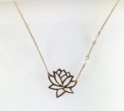 - Swarovski Kristal Taşlı Lotus Çiçeği Kolye - Gold Kaplama