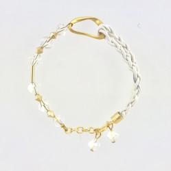 - Swarovski Kristal Taşlı örme deri ipli Bileklik - Mat Gold Kaplama