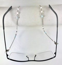- Swarovski Crystal Taşlı Zarif Gözlük Zinciri - Rhodium Kaplama