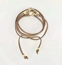 - Swarovski Ten Rengi (Golden Shadow) Taşlı Sarma Bileklik-Kolye - Gold Kaplama