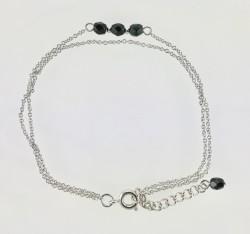 - Swarovski Siyah Kristal Taşlı Çift Zincirli Zarif Bileklik - Rhodium Kaplama