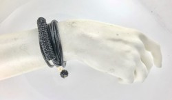- Kristal Jet (Siyah) Taşlı Kolye & Bileklik - Gold Kaplama