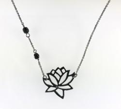 - Swarovski Siyah Kristal (Crystal Jet) Taşlı Lotus Çiçeği Kolye - Siyah Kaplama