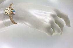 Swarovski Kristal Taşlı (Bulk Crystal) Çiçek Figürlü Bileklik - Gold Kaplama - Thumbnail