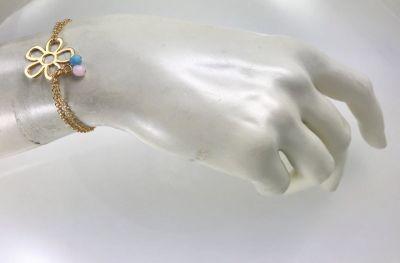 Swarovski Kristal Taşlı (Bulk Crystal) Çiçek Figürlü Bileklik - Gold Kaplama