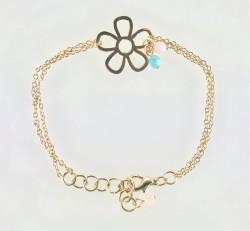 - Swarovski Kristal Taşlı (Bulk Crystal) Çiçek Figürlü Bileklik - Gold Kaplama