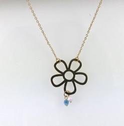 - Swarovski Kristal Taşlı (Bulk Crystal) Çiçek Figürlü Kolye - Gold Kaplama