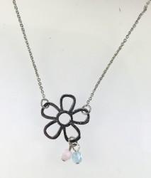 - Swarovski Kristal Taşlı (Bulk Crystal) Çiçek Figürlü Kolye - Rhodium Kaplama