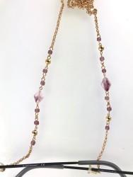 - Swarovski Kristal Taşlı Elegance Gözlük Zinciri - Gold