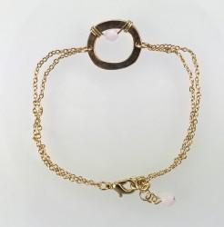 - Swarovski Kristal (Bulk) Taşlı Tel Sarma Bileklik - Gold Kaplama