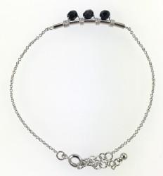 - Swarovski Siyah Kristal (Bulk Jet) Taşlı Tel Sarma Bileklik - Rhodium Kaplama