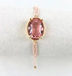 Swarovski Pembe Kristal (Light Rose) Taşlı Örme Bileklik - Gold Kaplama - Thumbnail