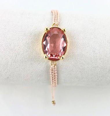 Swarovski Pembe Kristal (Light Rose) Taşlı Örme Bileklik - Gold Kaplama