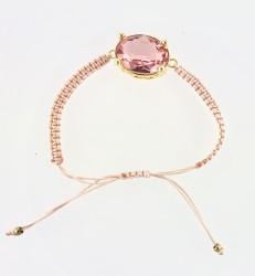- Swarovski Pembe Kristal (Light Rose) Taşlı Örme Bileklik - Gold Kaplama