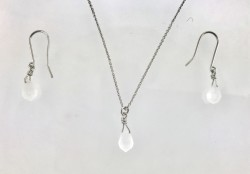 - Swarovski Sand Opal Kristal Taşlı Kolye-Küpe Takım - Rhodium Kaplama