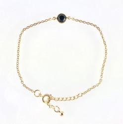 - Swarovski Siyah Kristal Tek Taş (Jet Stone) Bileklik - Gold Kaplama