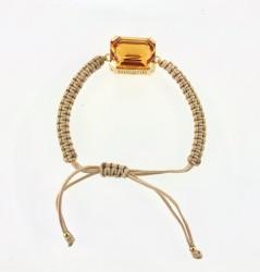 - Swarovski Topaz Kristal Taşlı Örme Bileklik - Gold Kaplama