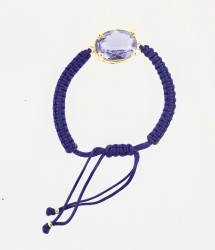- Swarovski Violet Kristal Taşlı Örme Bileklik - Gold Kaplama