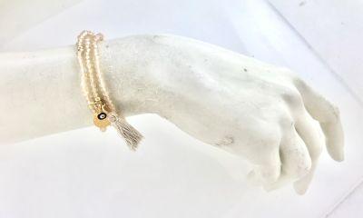 Ten rengi Kristal Taşlı Esnek , Nazar Mineli 3 kat sarma Bileklik+Kolye - Gold Kaplama