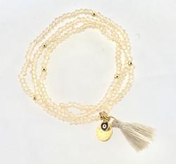 - Ten rengi Kristal Taşlı Esnek , Nazar Mineli 3 kat sarma Bileklik+Kolye - Gold Kaplama