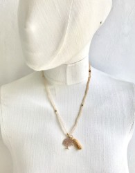 Ten rengi Kristal Taşlı Esnek, Sonsuzluk Ağacı 3 kat sarma Bileklik+Kolye - Gold Kaplama - Thumbnail