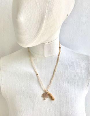 Ten rengi Kristal Taşlı Esnek, Sonsuzluk Ağacı 3 kat sarma Bileklik+Kolye - Gold Kaplama