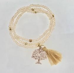 - Ten rengi Kristal Taşlı Esnek, Sonsuzluk Ağacı 3 kat sarma Bileklik+Kolye - Gold Kaplama