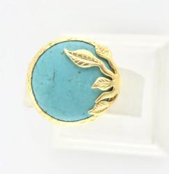- Turkuaz (Firuze) Taşlı Yaprak Figürlü Yüzük - Gold Kaplama