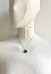 Yusufçuk Figürlü Kısa Tasarım Kolye - Antik Rose gold Kaplama - Thumbnail