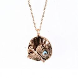- Yusufçuk Figürlü Kısa Tasarım Kolye - Antik Rose gold Kaplama