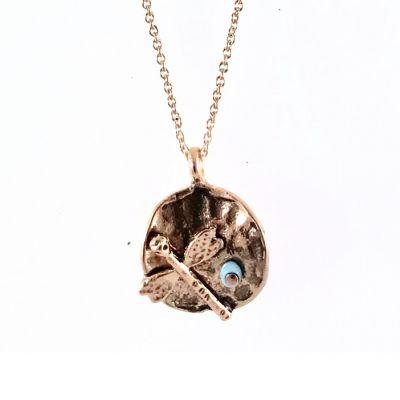 Yusufçuk Figürlü Kısa Tasarım Kolye - Antik Rose gold Kaplama