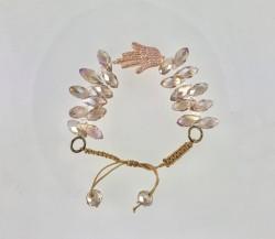 - Zirkon ve Swarovski Kristal Taşlı Fatma Eli Gümüş Bileklik - Gümüş Üzerine Rose gold Kaplama